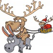 Reindeer riding donkey — Stock Photo