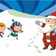 Foto de Stock  : Kids and Santa