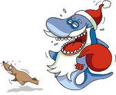 Shark Santa — Stock Photo