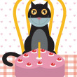 Stock Photo: Cat's birthday celebration