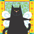 Black angel Cat — Stock Photo