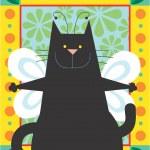 Black angel Cat — Stock Photo