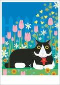 Gato tiene flor — Foto de Stock
