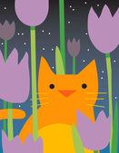 Yellow Cat Looks through plants — Stock Photo