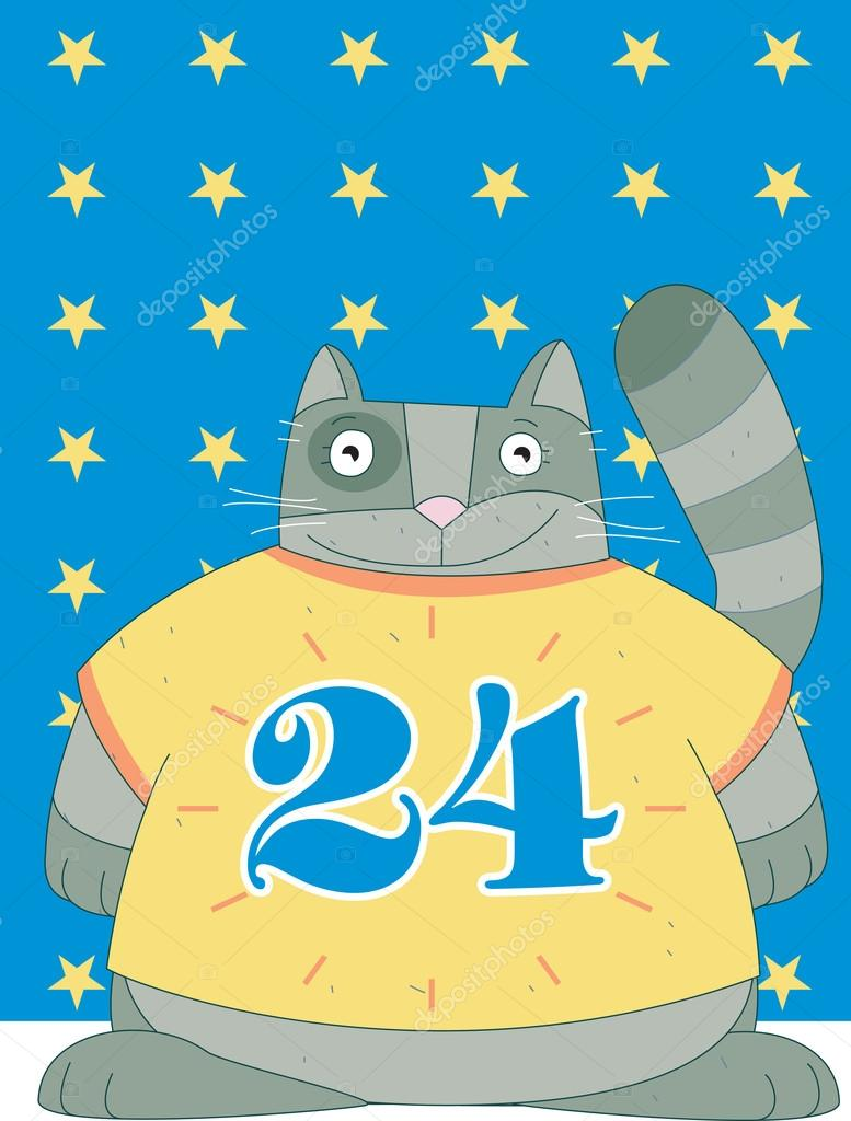 A chubby cat is wearing a t-shirt with no 24 is on  Stock Photo #16512689