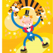 A tiger and a man in Circus - Stock Photo