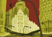 Büyük binalar && boş sokaklarda lege straten — Stok fotoğraf