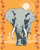 Elefant belysande — Stockfoto