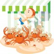 Stock Photo: Crabs chase boy