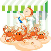 Crabs chase a boy — Stock Photo