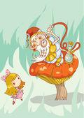 Girl and old caterpillar — Stock Photo