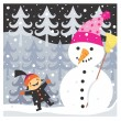Foto Stock: Boy and snowman