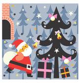 Santa hediyeler getiriyor — Stok fotoğraf