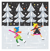 Girls are iceskating — Stock Photo