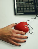 Holding love mouse — Photo