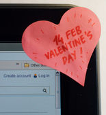Love note sticker on a PC screen — 图库照片
