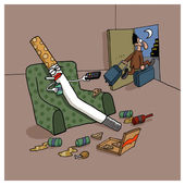 Mann verlässt seine frau zigarette — Stockfoto