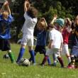 Little kids on football training in the park — Stock Photo