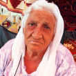 Portrait of an old village woman — Stock Photo
