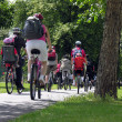 Group of cyclists in the park — Stock Photo