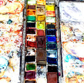 Heavily used Watercolor box with side palettes — Stock Photo