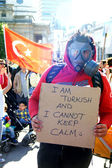 Turkish Protester with a gas mask — Stock Photo