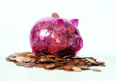 Transparent piggy bank — Stock Photo