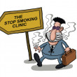 A man goes to a smoking clinic — Stock Vector