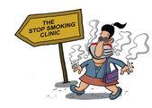 Kvinna går till en klinik för rökning — Stockvektor