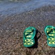 Stock Photo: Flip flops on beach