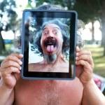 Conceptual Tablet portrait photography — Stock Photo