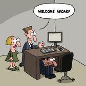 Shy new male office worker cartoon — Stock Vector