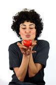 Woman kissing the heart — Stockfoto