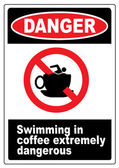 Funny coffee warning sign — Stock Vector