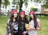 Alawites girls with their red bandana — Stock Photo