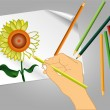 Drawing a flower — Stockvectorbeeld