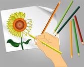 Disegno di un fiore — Vettoriale Stock