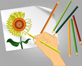 Drawing a flower — Stock Vector