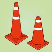 Orange highway traffic cones — Stock Vector