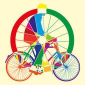 Bicycle wheel art vector illustration — Stock Vector