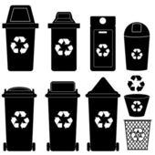 Recycle bin silhouette vector — Stock Vector