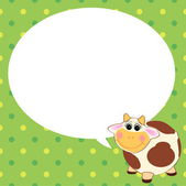 Cute cow with speech bubble — Stock Vector