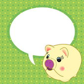 Cute pig with speech bubble vector — Stock Vector