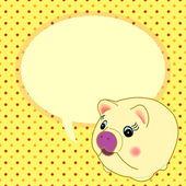 Söt gris med tal bubbla vektor — Stockvektor