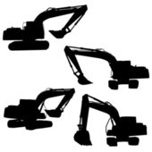 Backhoe silhouette vector — Stock Vector