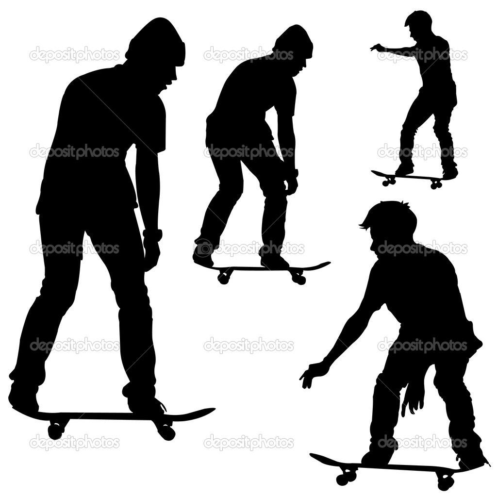 Skateboard Silhouette Vector — Stock Vector © attaphongw ...