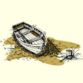 Sketch drawing boat on ground vector — Stock Vector