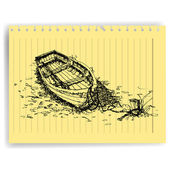 Sketch drawing boat on lined paper page vector — Stock Vector
