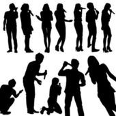 Singers silhouette set vector — Stock Vector