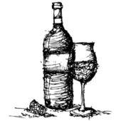 Croquis dibujo de vector vidrio y botella de vino — Vector de stock